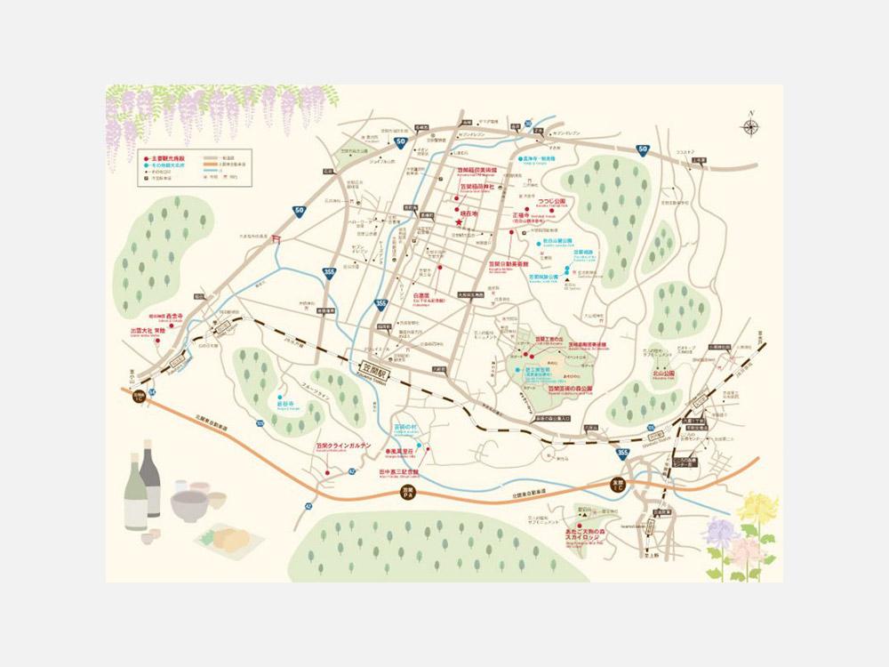 笠間市観光案内図 笠間稲荷神社前設置マップ